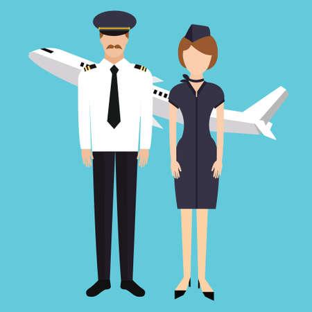 flight crew: pilot stewardess flight attendance cabin crew in uniform plane vector character