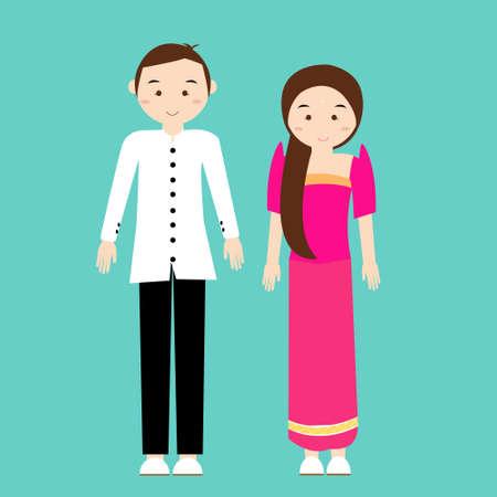 남자 여자 커플은 필리핀에서 전통 의상 드레스 만화 벡터를 착용