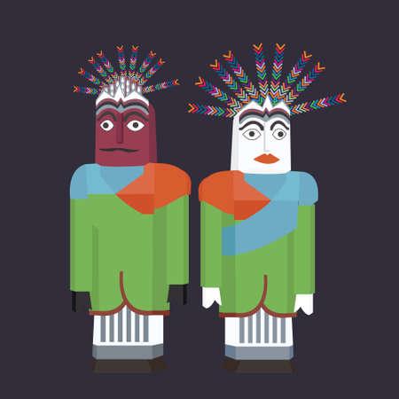 ondel-ondel jakarta puppet traditional betawi celebration indonesia vector