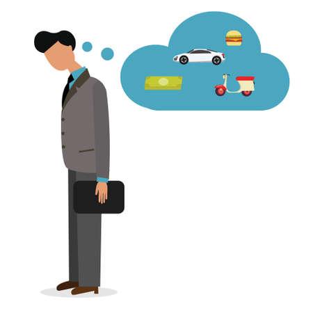 car bills: man unemployed need job work  thinking debt pay car bill vector