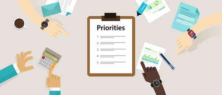 Prioritäten Prioritätenliste Schreibtisch Geschäfts persönlichen Vektor