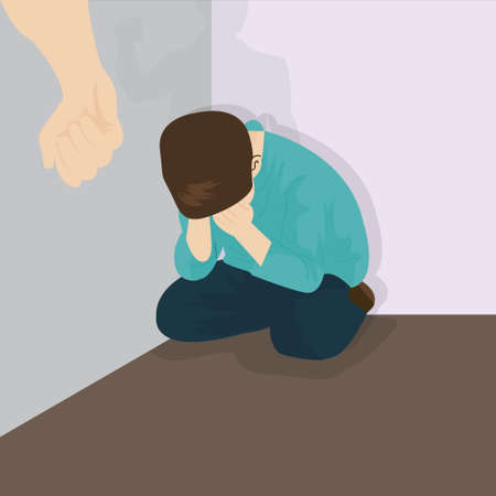 parent and child: child abuse violence bullying kids in corner vector