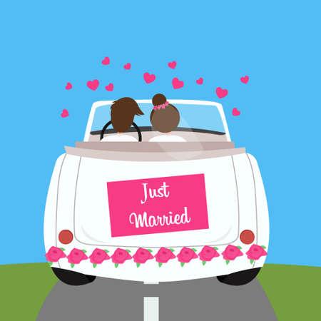 luna de miel: acaba de ilustración vectorial pareja de luna de miel coche matrimonio boda casado
