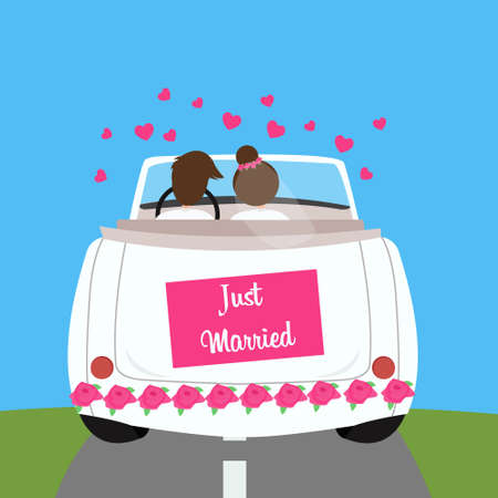 mariage: juste marié mariage lune de miel vecteur couple voiture mariage illustration Illustration