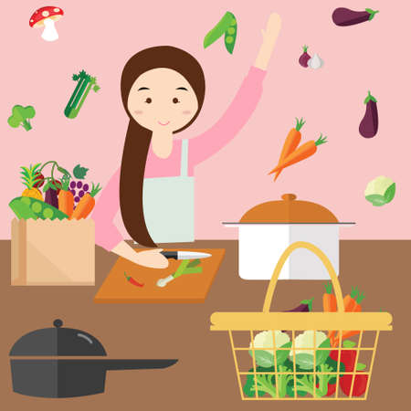 fly around: moms woman cooking in kitchen vegetable ingredients fly around grocery bag Illustration