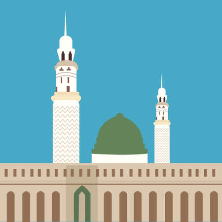 place of worship: nabawi mosque madina islam worship place dome minaret vector Illustration
