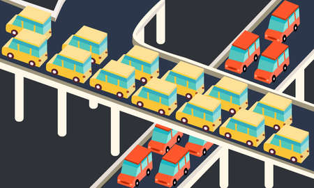 crowded street: traffic jams car waiting stuck in line road city  ector Illustration