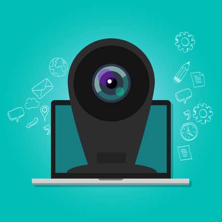 icono ordenador: webcam de la cámara de vigilancia de seguridad en línea del ordenador portátil a Internet