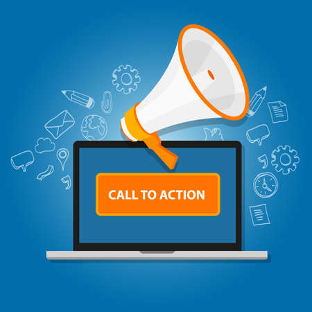 in action: call to action button vector illustration laptop with megaphone Illustration
