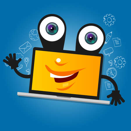 notebook computer: laptop computer big eyes character cartoon smile with hands yellow mascot face happy
