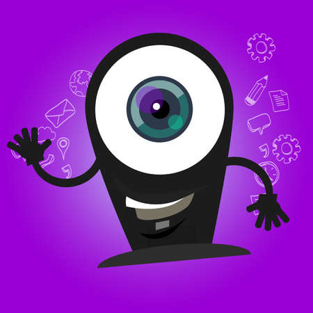 web cam: camera webcam big eyes character cartoon smile with hands mascot face happy Illustration