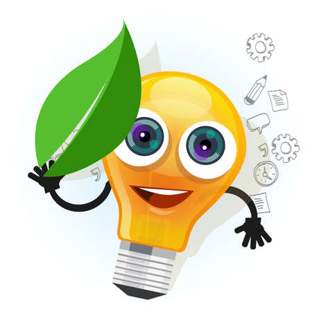 lamps: lamp bulb light leaf cartoon character smile happy mascot face illustration drawing