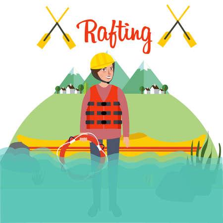 raft: rafting people standing boat river helmet raft canoe sport kayak vector Illustration