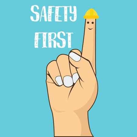 safety first finger pointing wearing helmet vector illustration concept drawing