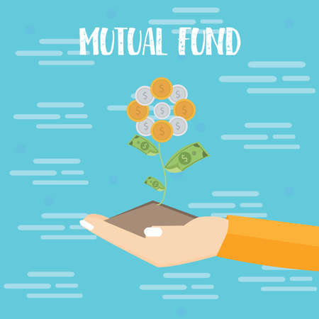 financial diversification: mutual fund investment hand grow plant dollar coin vector flat illustration drawing