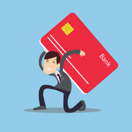 man carrying heavy credit card debt financial management trouble burden vector  イラスト・ベクター素材