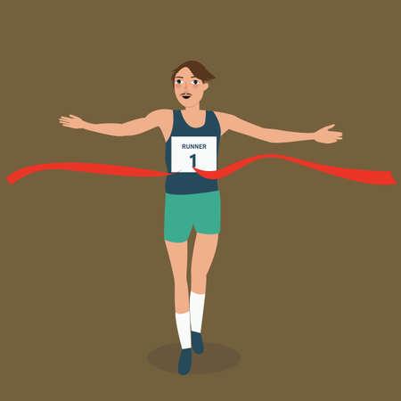 winner man: man running runner athlete finish crossing red ribbon line winner vistory success vector Illustration