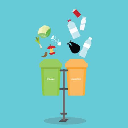 organic inorganic recycle garbage bin separation segregate  separate bottle degradable waste trash vector