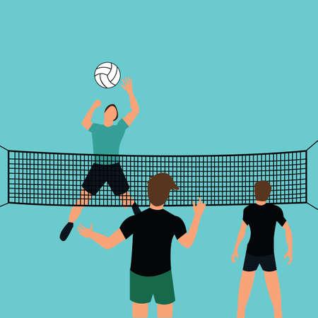 pelota de voley: equipo Hombre jugar voleibol en la corte con el salto red de defensa rompiendo vector de deporte