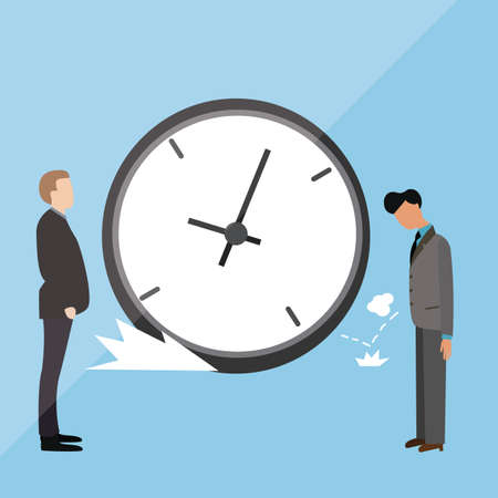 arrive: big clock late arrive at office boss angry blamed vector
