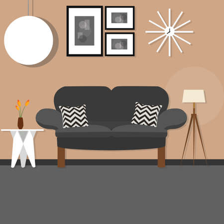 small room: living room with sofa small desk hanging and standing lamp brown wall dark sofa vector