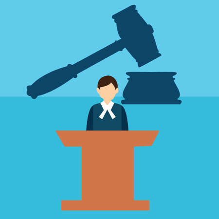 proceeding: court judge desk trial hammer gavel legal justice flat icon vector Illustration