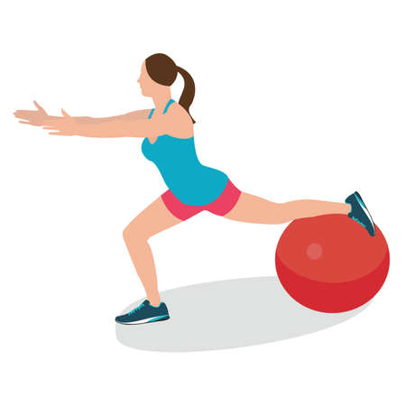 balance ball: woman fitness position using stability ball excercise gym training workput balance female vector