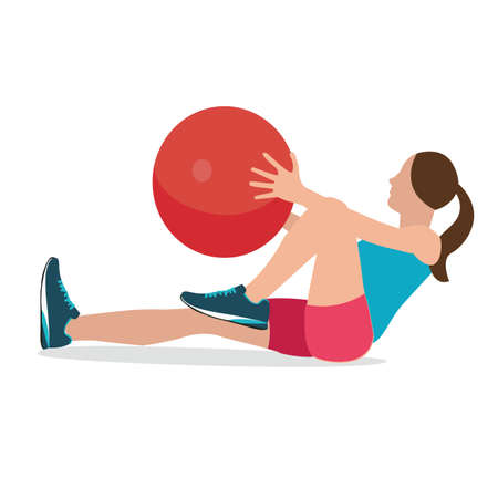 abdominal muscle exercises: woman fitness position using stability ball excercise gym training workput balance female vector