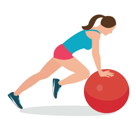 pilates ball: woman fitness position using stability ball excercise gym training workput balance female vector