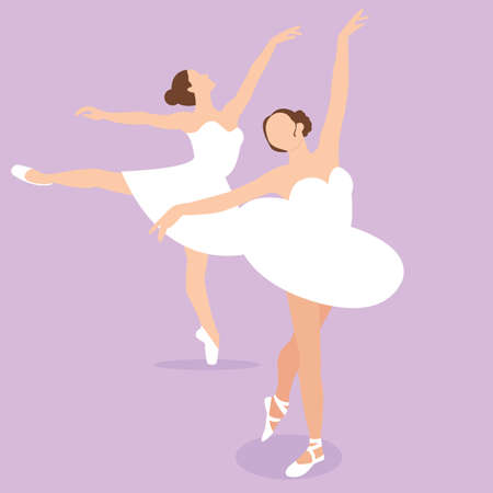 girl action: ballerina girl ballet pose dance action perform illustration vector drawing Illustration