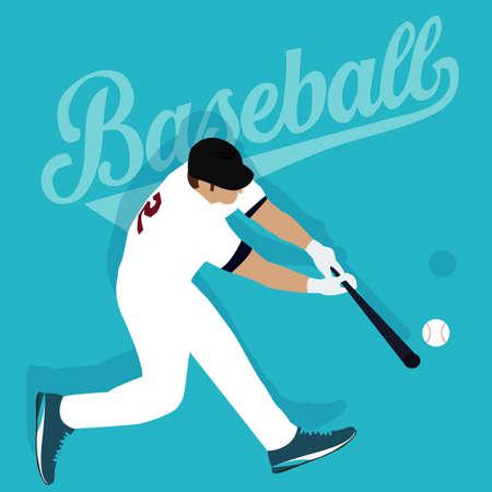 baseball ball: baseball player hit ball american sport athlete vector Illustration