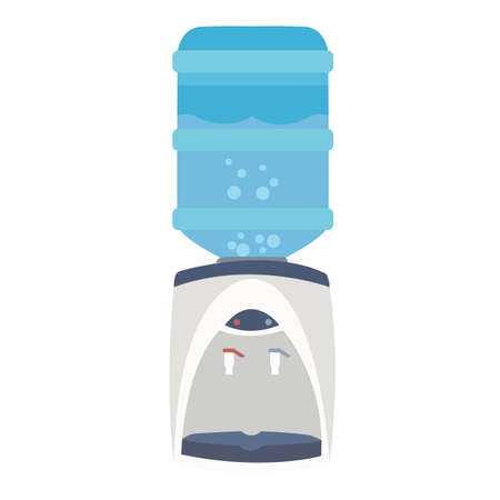 hot water bottle: water dispenser cooler bottle purifier flat blue faucet equipment vector Illustration