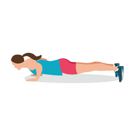 push up: push up woman fitness position excercise gym training workput female vector Illustration