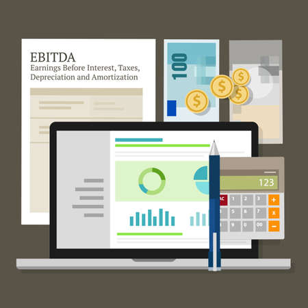 amortization: EBITDA Earnings Before Interest, Taxes, Depreciation and Amortization vector