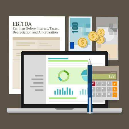 depreciation: EBITDA Earnings Before Interest, Taxes, Depreciation and Amortization vector