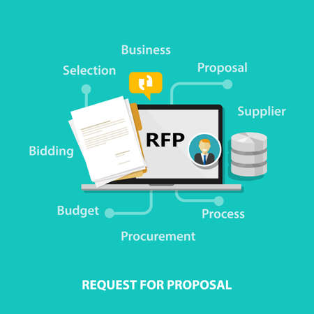 RFP request for proposal icon illustration vector bidding procurement process drawing Vectores