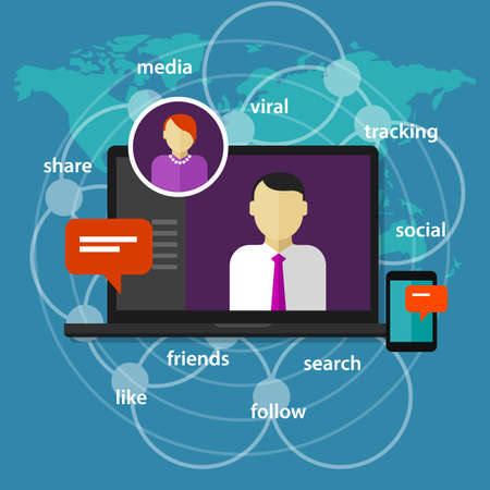 administrator: social media manager management administrator concept communication online world map laptop screen device phone vector