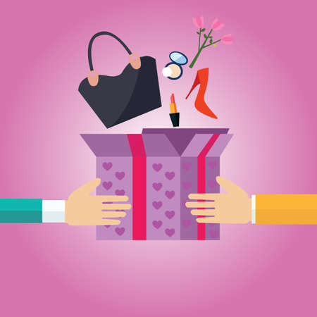 cartoon present: gift present box open to girls female stuff hand bag shoes flower pink romantic surprise shopping cartoon vector Illustration