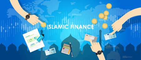 money management: islamic finance economy islam banking money management concept sharia bank vector