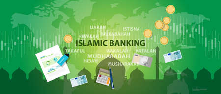 finances: islamic banking sharia islam economy finance money management transaction concept Illustration