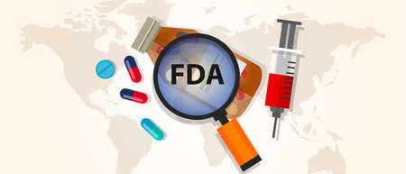 FDA 食品と医薬品管理承認健康薬局認定ウイルス  イラスト・ベクター素材