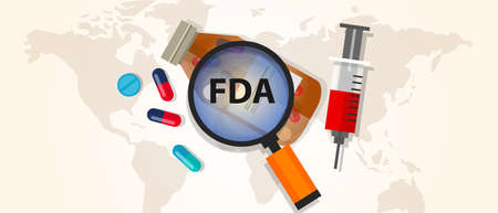 fda: FDA food and drug administration approval health pharmacy certification virus Illustration