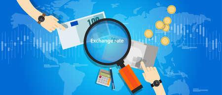 bucle: tasa de cambio de moneda curs precio de la divisa mercado del vector