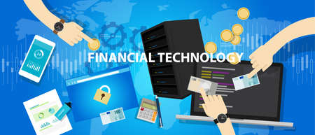 fintech financial technology services banking commercial vector concept Illustration