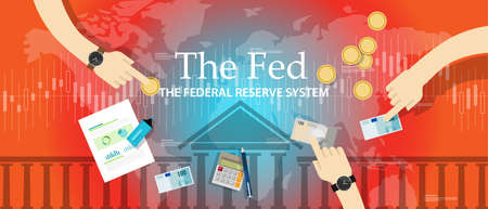 fiscal: the fed federal reserve system manage economy fiscal policy american central bank vector Illustration