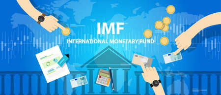 monetary: IMF International monetary fund vector concept illustration