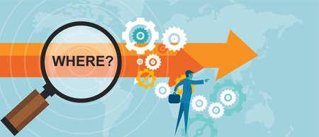 wo Fragezeichen Business-Konzept Entscheidungsstrategie Vektor