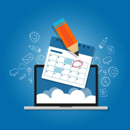 Marque la respuesta a su programa de calendario en línea de planificación nube ordenador portátil del vector Foto de archivo - 53581405