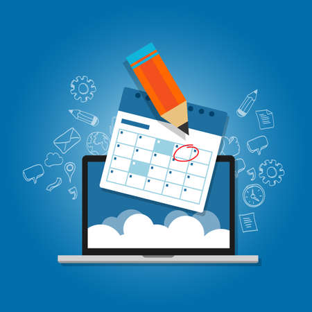 cronogramas: Marque la respuesta a su programa de calendario en línea de planificación nube ordenador portátil del vector