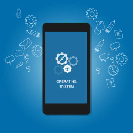 operating system: mobile operating system OS cell phone flat illustration vector